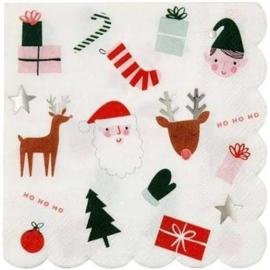 Servetten met kerst illustraties (16 stuks) - Meri Meri