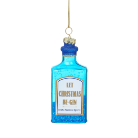 Blue Gin Bottle Shaped Bauble | Sass & Belle