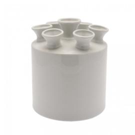 Tulpenvaas cilinder | Wit - Heinen Delfts Blauw