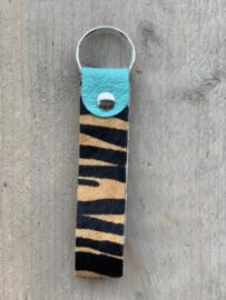 Sleutelhanger zebra turquoise