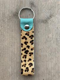 Sleutelhanger cheetah turquoise