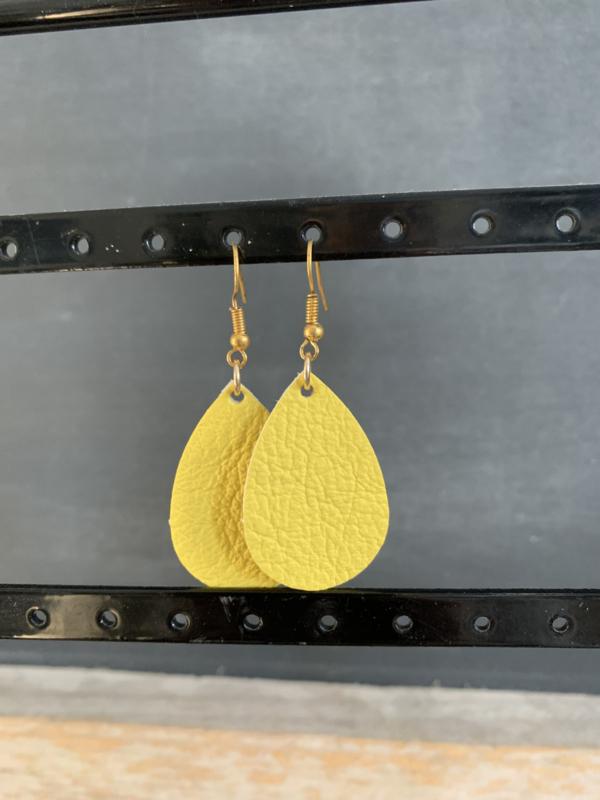 Oorbellen druppel leer geel