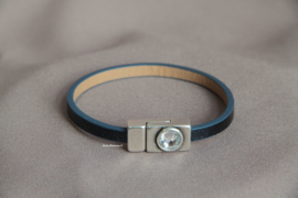 Donkerblauw PU leren armband met Swarovski sluiting