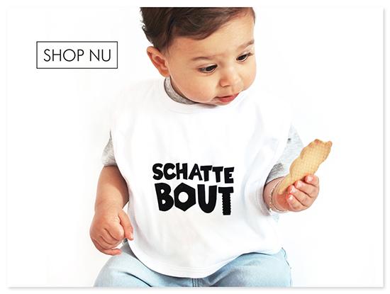 Kraamcadeau Slabbetje met tekst Schattebout