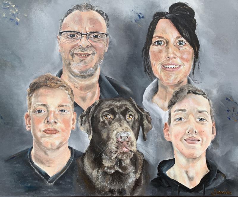 Labrador met Familie