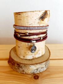 Armband XL zilver/bordeaux magneet
