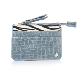 Klein portemonneetje zebra blauw