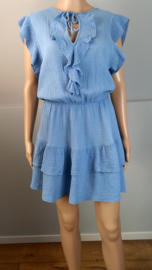 Mini jurk volant blauw