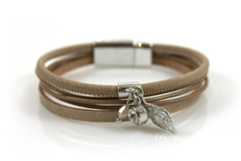 Magneet armband zilver/taupe