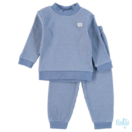 Feetje wafel pyjama blauw melange