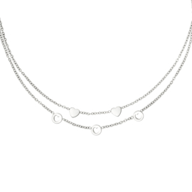 Ketting dubbellaags 'Romance' zilver