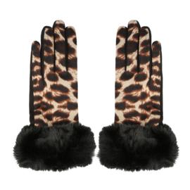Handschoenen luipaardprint bontje
