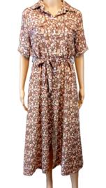 Lange jurk roze/beige dierenprint
