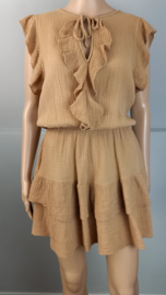 Mini jurk volant camel