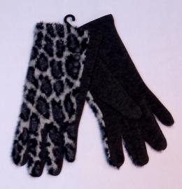 Handschoenen dierenprint grijs