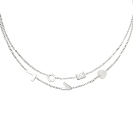 Ketting dubbellaags 'Love' zilver
