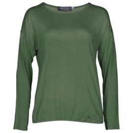 Shirt basic lange mouwen legergroen