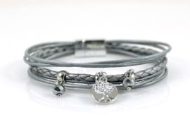 Magneet armband zilver/grijs