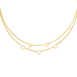 Ketting dubbellaags 'Romance' goud