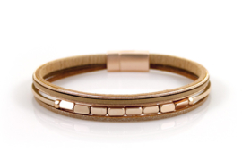 Magneet armband roségoud/camel