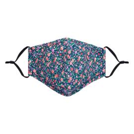Mondkapje fashion blauw bloemetjes