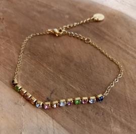 Goud armbandje strass 'Rainbow'
