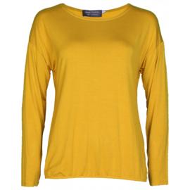 Shirt basic lange mouwen okergeel