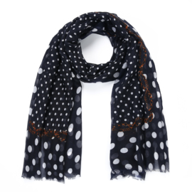 Sjaal polkadot donkerblauw