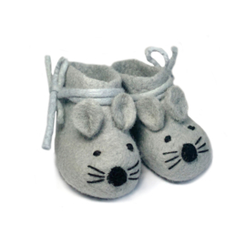 Baby slofjes grijs vilt muis