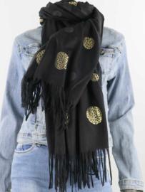 Sjaal zwart tijger goud