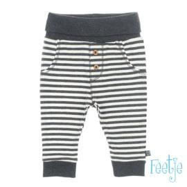 Feetje broekje antraciet/wit gestreept