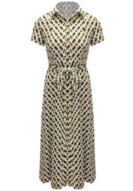 Doorknoop jurk travel print