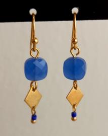 Oorhangers goud blauw