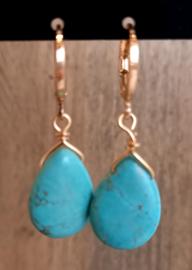 Oorhangers goud 'Turquoise'