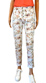 Baggy jeans wit bloemenprint Jewelly