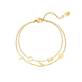 Armband  'Love' goud