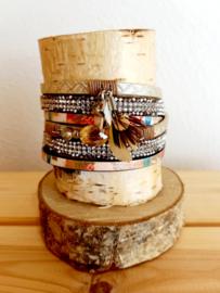 Ibiza wikkelarmband beige magneetsluiting