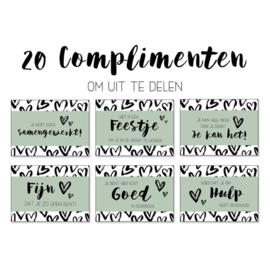 Set van 20 complimentenkaartjes