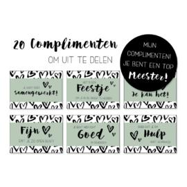 Set van 20 complimentenkaartjes voor de meester!