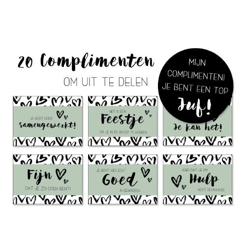 Set van 20 complimentenkaartjes voor de juf!