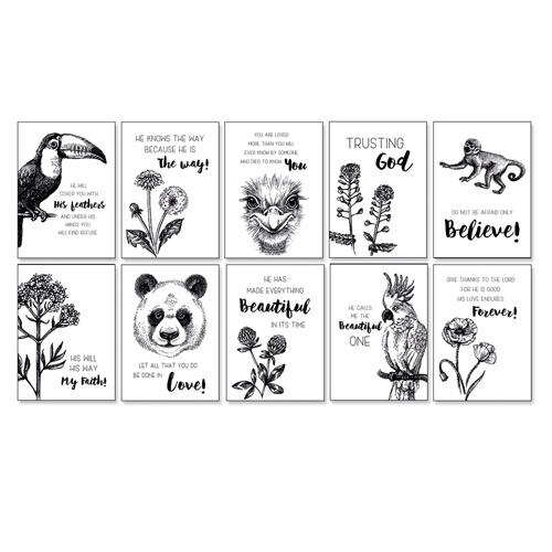 Set van 10 christelijke mini kaartjes tropical