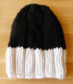 Kabelmuts zwart - wit (M)