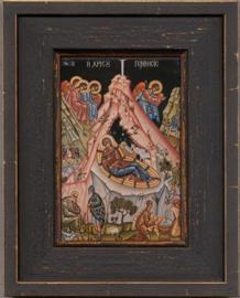 Geboorte van Christus .  Chilanaar-Klooster Athos-17e eeuw