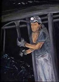 Mijnwerker ( tussen de stutten)