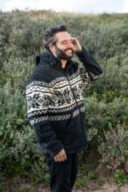 Pure Wool Handgebreide Vest WJK-1301 Antraciet