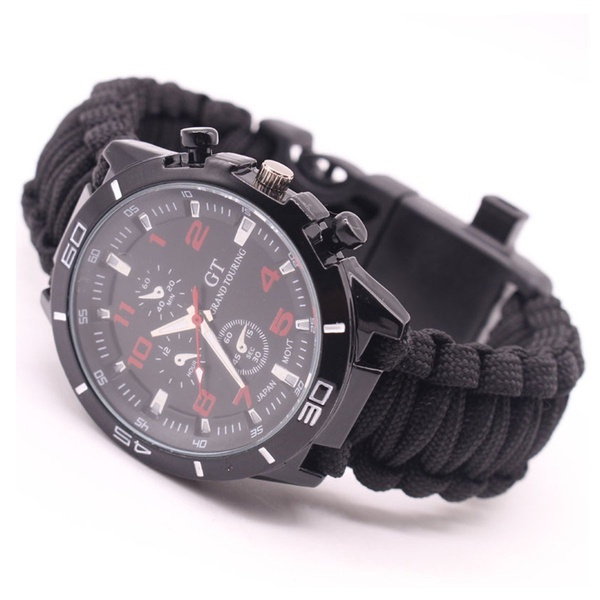 Survival Paracord Horloge Black