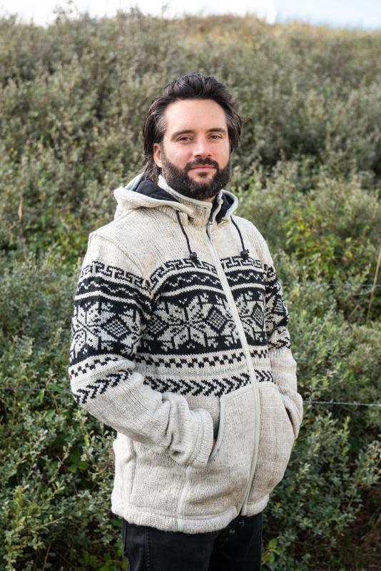 Pure Wool Handgebreide Vest WJK-1301 Ecru