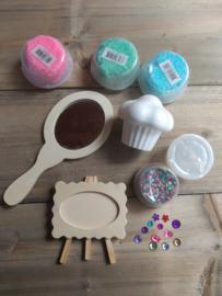 Prinses pakket 2 (ovale spiegel-fotolijst-cupcake-foam clay)