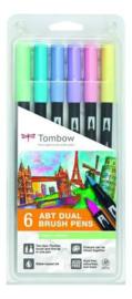 Tombow 6 dual brush pen pastel