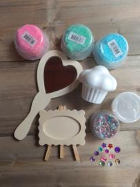 Prinses pakket 1 (hart spiegel-fotolijst-cupcake-foam clay)
